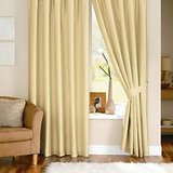 Beautiful Solid Crush Curtain -Dark Cream (set Of 2)(4x7ft)