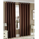 Beautiful Solid Crush Curtain -Coffee (set Of 2) (4x7ft)