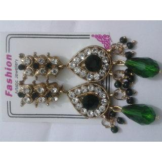 Green And White Imitation Earrings