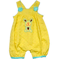 Young Birds Kids Yellow Embroidered  Dungaree