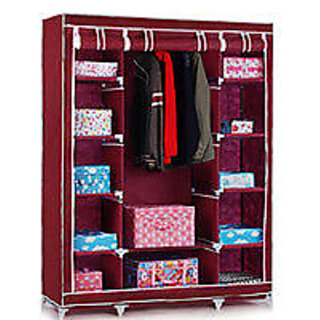 3 DOOR MAROON Foldable Wardrobe Almirah Cupboard