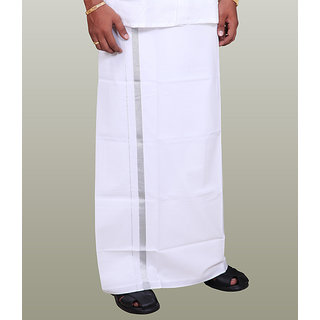 Fashionkiosks Mens Traditional White Colour Half Inch Silver Border Dhoti