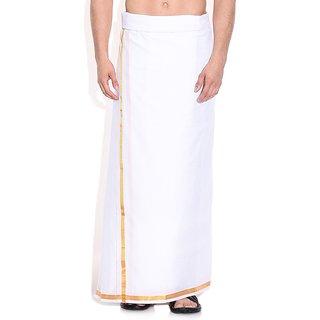 Fashionkiosks Mens Traditional Cream Half Inch Gold Border Dhoti
