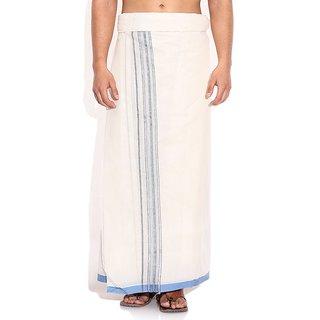 Fashionkiosks Mens Traditional Silver lines Border Dhoti