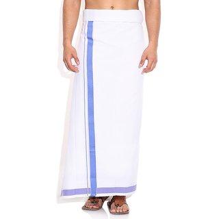 Fashionkiosks Mens Traditional Blue Border Dhoti