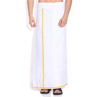 Fashionkiosks Mens Traditional Half Inch Mango Colour Border Dhoti