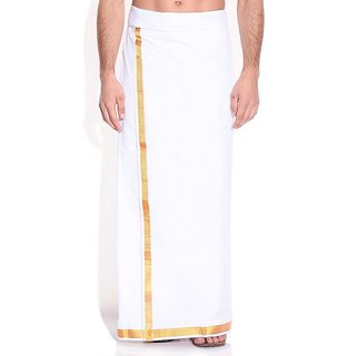 Fashionkiosks Mens Traditional 1 Inch Gold Colour Border Dhoti