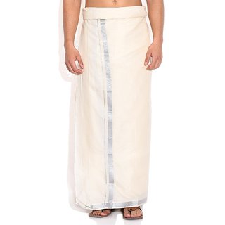 Fashionkiosks Mens Traditional 1 Inch Silver Border Dhoti