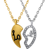 Mahi Valentine Crystal Love Broken Heart Gold Rhodium Plated Pendant PS1101535M