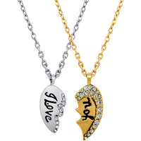 Mahi Valentine Crystal I Love You Broken Heart Gold Rhodium Pendant PS1101536M
