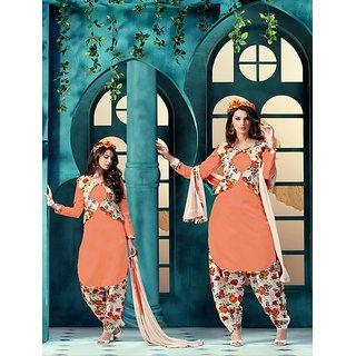 Thankar Embroidered Orange Bhagalpuri Silk Patiala