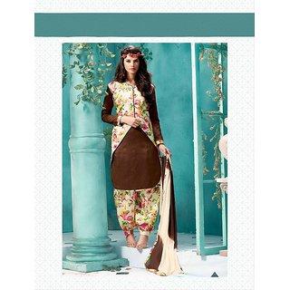 Thankar Embroidered Brown Bhagalpuri Silk Patiala