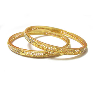 Rabbi Gold-plated 2pc Lisa Net White Stone Bangles Set kada bracelet