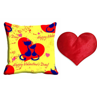 meSleep Happy Valentine Day Cushion Cover (16x16) With Free Heart Shaped Filled Cushion