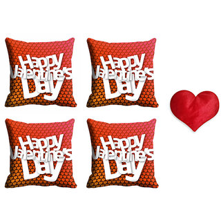 meSleep Happy Valentine Cushion Cover (16x16) - Set of 4 With Free Heart Shaped Filled Cushion