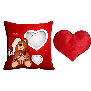 meSleep Valentine Blue Teddy Cushion Cover (16x16) With Free Heart Shaped Filled Cushion