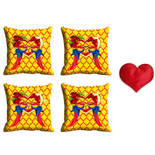 meSleep Yellow Valentine Cushion Cover (16x16) - Set of 4 With Free Heart Shaped Filled Cushion
