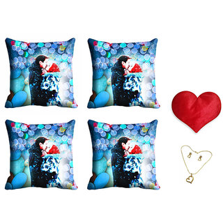 meSleep Valentine Couple Cushion Cover (16x16) - Set of 4 With Free Heart Shaped Filled Cushion and Pendant Set