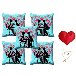 meSleep Blue Valentine Couple Cushion Cover (16x16) - Set of 5 With Free Heart Shaped Filled Cushion and Pendant Set