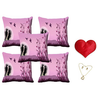 meSleep Pink Valentine Couple Cushion Cover (16x16) - Set of 5 With Free Heart Shaped Filled Cushion and Pendant Set