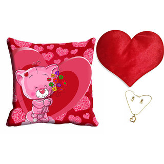 meSleep Pink Teddy Valentine Cushion Cover (16x16) With Free Heart Shaped Filled Cushion and Pendant Set