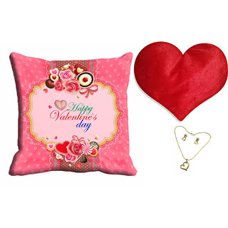 meSleep Happy Valentine Day Cushion Cover (16x16) With Free Heart Shaped Filled Cushion and Pendant Set