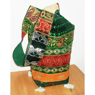 Ana Stylish Multi Colour Zari Embroidered Sling/Side Bag by H R Creations.  available at shopclues for Rs.275
