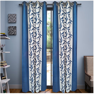 Geonature Blue Kolavery Polyster Door Curtains Set Of 4 Size 4x7 (G4CR7F-56)