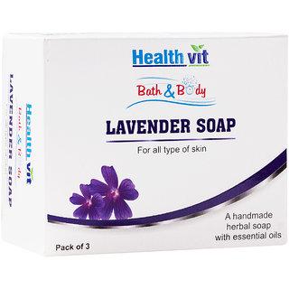 Healthvit Bath Body Lavender Soap 75g - Pack of 3