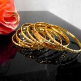 Beautiful Fancy Design Micro Gold Plated 6 Pc Bangle Set Size 2.6