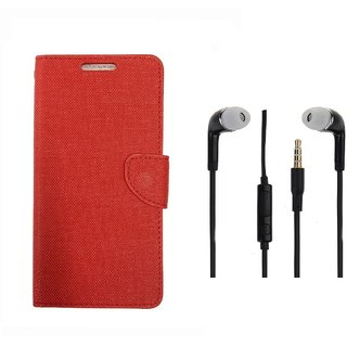 Infocus M2 Premium Flip Cover Red and 3.5MM Stereo Earphones by VKR Cases