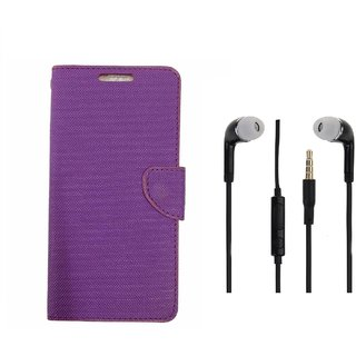 Infocus M2 4G Premium Flip Cover Purple and 3.5MM Stereo Earphones by VKR Cases
