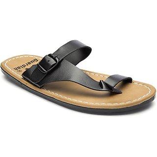 Stylos Mens Black Kohlapuri Slippers