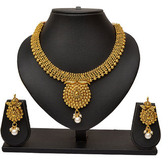 Exclusive Pourni Pearl Jewellery necklace Earring Set for women - PRNK01