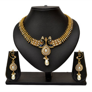 Pourni Antique Peacock Design pearl necklace Earring Jewellery Set for women