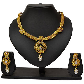 Pourni Attractive Design pearl necklace Earring Jewellery Set for women- PRNK10