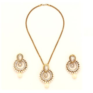 GoldNera Gold Alloy Gold Plated Pearl Designer Wedding Pendant With Chain  Earrings