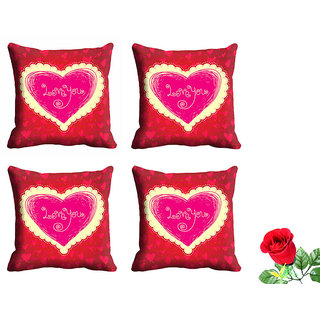 meSleep Love You Valentine Cushion Cover (16x16) - Set of 4 With Free Artificial Rose