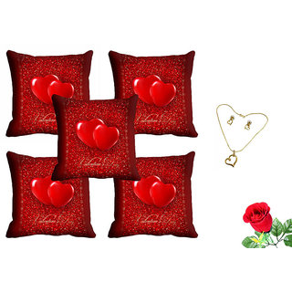 meSleep Red Heart Valentine Cushion Cover (16x16) - Set of 5 With Free Artificial Rose and Pendant Set