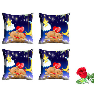 meSleep Happy Valentine Day Cushion Cover (16x16) - Set of 4 With Free Artificial Rose