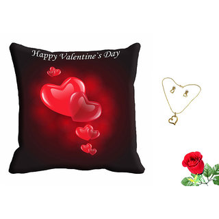 meSleep Happy Valentine Day Red Cushion Cover (16x16) With Free Artificial Rose and Pendant Set
