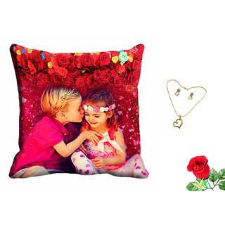 meSleep Valentine Cute Couple Cushion Cover (16x16) With Free Artificial Rose and Pendant Set