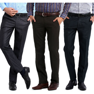 Just Rs.999 For Gwalior Premium Formal Trousers Pack of 3- Black, Blue, Brown