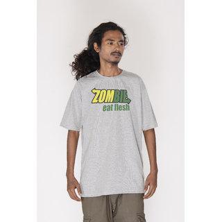 Demokrazy Cotton Zombie  T Shirt For Men Grey