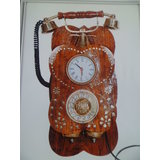 Variety Arts Wooden And Brass Telephone Wall Hanging