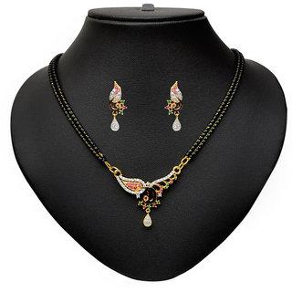 Pourni Attractive American Diamond Peacock Tanmaniya Mangalsutra set for women