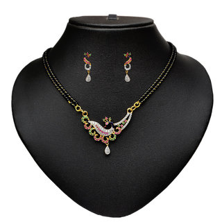 Pourni American Diamond Peacock Design Tanmaniya Mangalsutra set for women