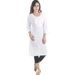 Awesome Cotton Schiffli kurti with 3/4 Sleeve