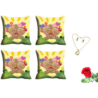 meSleep Yellow Teddy Valentine Cushion Cover (16x16) - Set of 4 With Free Artificial Rose and Pendant Set
