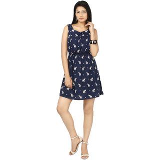Sukuma Fancy Elephant Print Navy Blue Short Dress